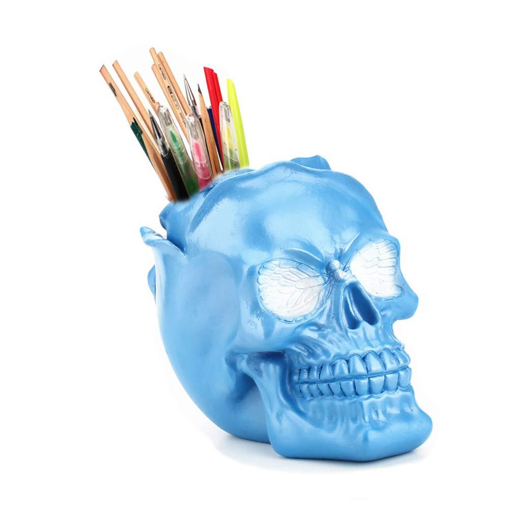 Skull Pen Holder/Skull Makeup Brush Holder/Pen Holder/Dressing Table Office Desk Storage Box/Green Plant Flower Pot/Halloween Skull(Blue)