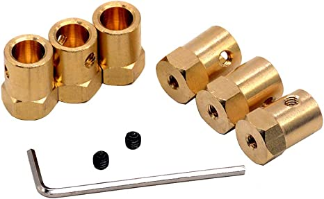Color : 5pc Brass 4mm LKs Shop Coupling Shaft Hexagonal Brass Coupling Length 18mm Hex Connector Robot Accessories Shaft 3mm 4mm 5mm 6mm 7mm 8mm Yellow Copper Screw Wheel Connection