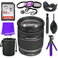 Canon EF-S 18–200mm f/3.5–5.6 IS Lens (White Box, Bulk Packaging) for Canon DSLR Cameras & SanDisk 64GB Class 10 Memory Card + Complete Accessory Kit (11 Items)