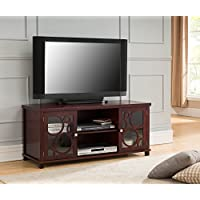 Kings Brand Furniture 48 Cherry Finish Wood TV Stand Storage Console