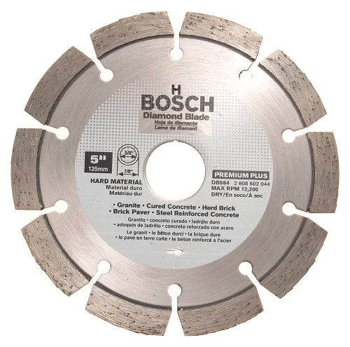 Bosch DB564 Premium Plus 5-Inch Dry Cutting Segmented Diamond Saw Blade with 7/8-Inch Arbor for Granite (Diamond Dry Plus Blade)