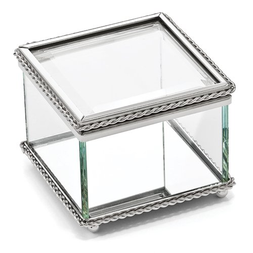 Creative Gifts Glass Square Hinged Box
