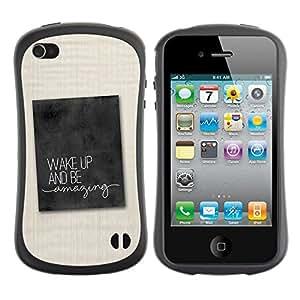 Suave TPU GEL Carcasa Funda Silicona Blando Estuche Caso de protección (para) Apple Iphone 4 / 4S / CECELL Phone case / / Quote Fabric Text Advice /