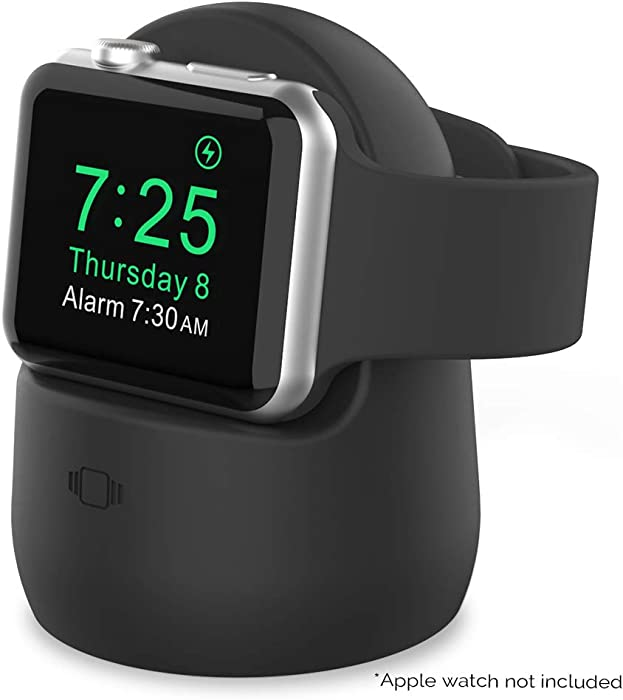 AhaStyle Silicone Stand Dock for Apple Watch Series 5, Series 4, Series 3, Series 2, Series 1, 44mm, 42mm, 40mm, 38mm, Support Night Stand Model【Adapters NOT Included】(Black)