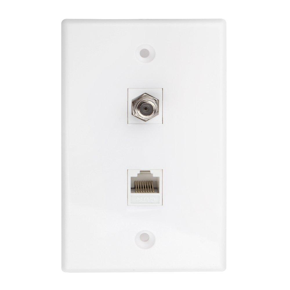 Monkeyjack Ethernet Coax Rj45 Coaxial F Type Wallplate Wiring Cat5 Socket Tnp Connector Network Wall Plate Dual 2 Port Combo Video
