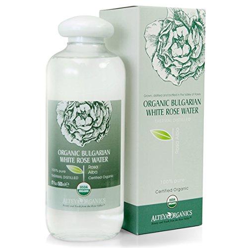 Alteya Organics Bulgarian Organic White Rose Water (Rosa Alba) - LARGE, USDA Certified Organic, 500ml / 17 fl