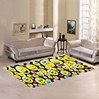 Custom Colorful Emoji Face Area Rugs Carpet 7 x 5 Feet, Emotion Smile Modern Carpet Floor Rugs Mat for Children Kids Home Living Dining Room Playroom Decoration