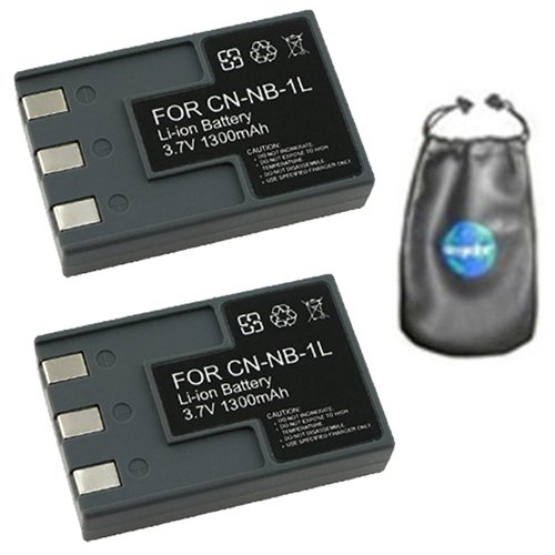ValuePack (2 Count): Digital Replacement Camera and Camcorder Battery for Canon NB-1L, (Canon Nb 1lh Rechargeable Battery)
