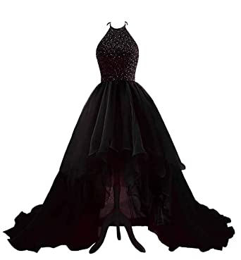 c45a4aa1979 Changuan Women s High Low Beading Organza Prom Dresses Halter Backless Homecoming  Evening Party Ball Gown Black