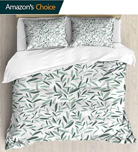 shirlyhome Sage Bedding Sets Duvet Cover Set,Pattern with Leaves Environment Nature Simplicity Summer Spring Plants Garden Bedspreads Beach Theme Quilt Cover Children Comforter Cover 104