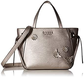 GUESS Lizzy Metallic Satchel, Pewter