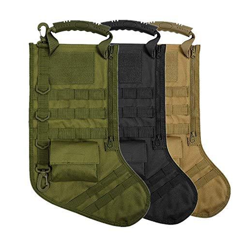 - AIRSOFTPEAK Tactical Pouch Molle Christmas Stocking Bag Design Military Ammo Bullet EDC Pouch Dump Drop Magazine Storage Bag, Big, Green + Tan + Black