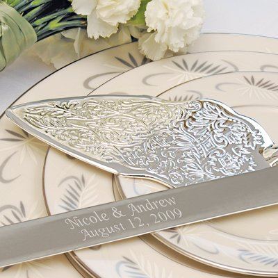 Embossed Cake Server Set Silver and Metal Love Favor Frame by RaeBella Weddings & Events New York (Image #1)