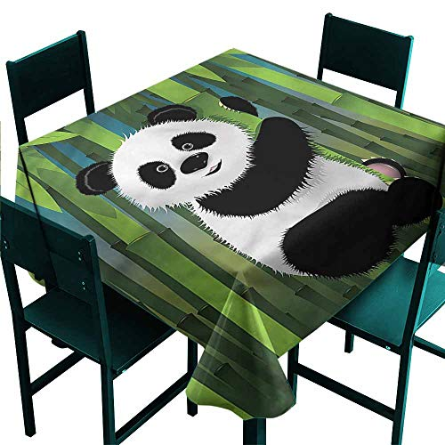 Tidefree Cartoon Waterproof Tablecloth Curious Baby Panda Bear for Kitchen Dinning Tabletop Decoration W63 x L63 ()