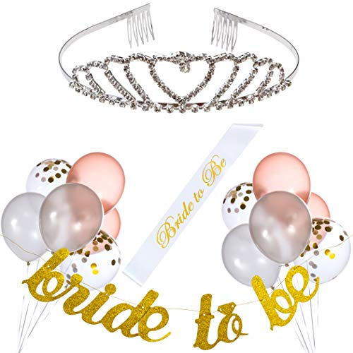 Bachelorette Party Decorations Kit - Classy Bridal Shower Supplies Set - Bride to Be Sash and Gold Banner - Silver Rhinestone Tiara - Rose Gold, White and Confetti Balloons