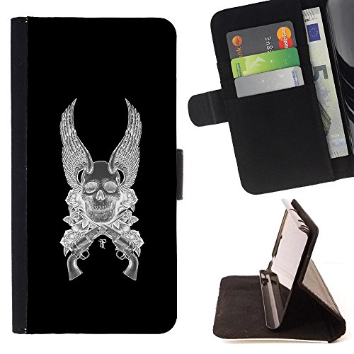 HTC Desire 620 / Desire 620 Dual Case - Colorful Pattern Flip Wallet Leather Holster Protective Skin Case Cover (Wings Angel Death Guns Revolver Black) (Htc Wing Solid Case)