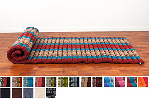 Leewadee Roll Up Thai Mattress, 79x30x2 inches, Kapok Fabric, Blue Red, Premium Double Stitched by Leewadee
