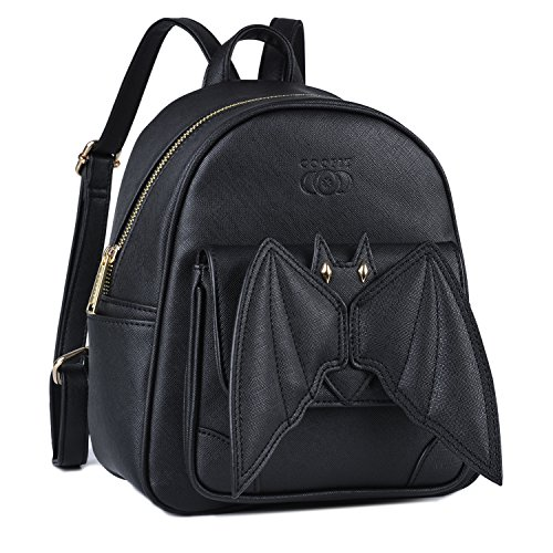 Black Mini Backpack, COOFIT Bat Purse Gothic Backpack Purse Goth Backpack Mini Bookbags for Women -