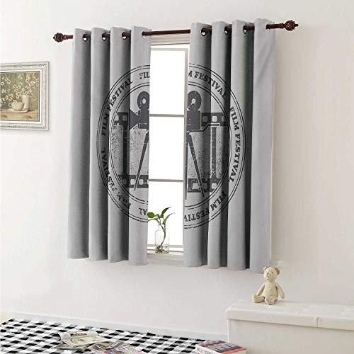 Movie Theater Window Curtain Fabric Film Festival Grungy Round Stamp with an Antique Projection Camera Silhouette Curtains and Drapes for Living Room W55 x L63 Inch Grey White