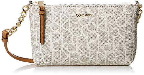 Calvin Klein Hayden Key Item Signature Top Zip Chain Crossbody, textured almond/khaki ()