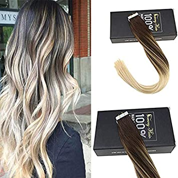 Sunny Tape In Hair Extensions 22 Inch Blonde Tape In Hair Extensions Balayage Tape In Real Remy Human Hair Balayage Dark Brown Fading To Bleach Blonde