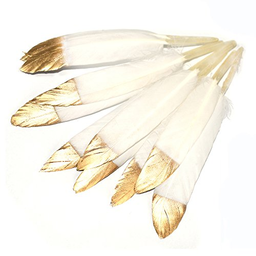 (CHQHQ Gold Dipped Natural White Feathers for Various Crafts, Birthday Parties, Wedding and Party Dress-ups (Gold Dipped)40PCS)