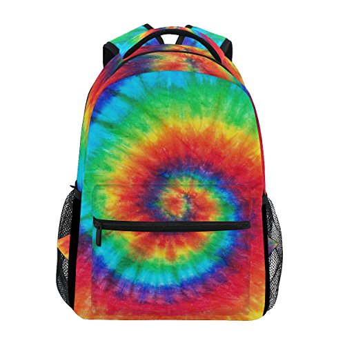 WXLIFE Spiral Tie Dye Backpack Trippy Travel School Shoulder Bag for Kids Boys Girls Women Men