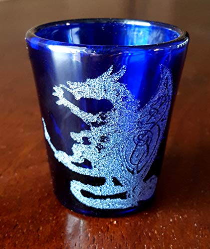 Celtic Dragon Cobalt Blue Shot Glass - Free Personalized Engraving