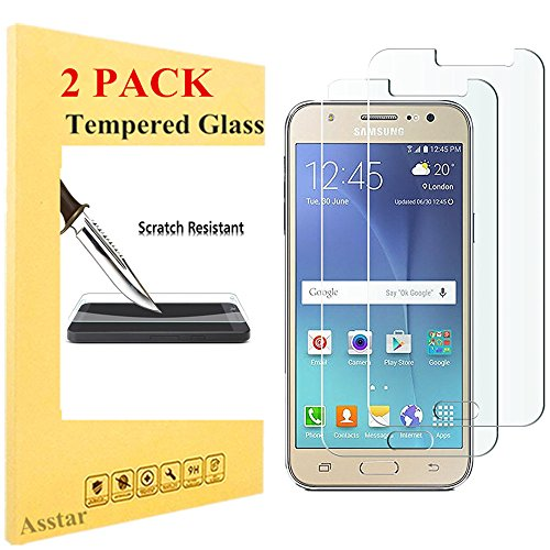 Price comparison product image Galaxy J5 Screen Protector (2015 ) [2 Pack],  Asstar [Tempered Glass] Crystal Clear 2.5D Ultra Clear 9H Hardness Bubble Free Screen Protector for Samsung Galaxy J5 (2 Pack)
