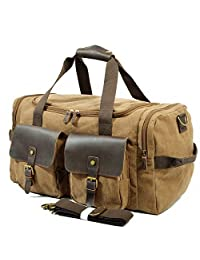SUVOM Weekender Duffle Bag Canvas Leather Travel Luggage Oversized Holdalls (Coffee)
