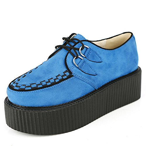 RoseG Women's Handmade Suede Lace Up Flat Platform Creepers Shoe Blue