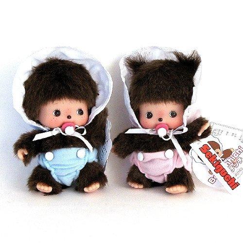"Bebichhichi: Original Sekiguchi 5"" Baby Girl and Boy Monchhichi Doll Set of 2pcs"
