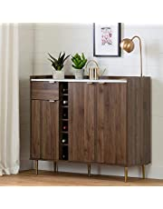 South Shore Furniture Hype Buffet with Storage-Natural Walnut and Faux Carrara Marble