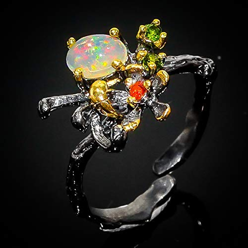 Natural 8x6mm Opal Ethiopia 925 Sterling Silver Ring Size 7 8 9 Handmade Animal Ring