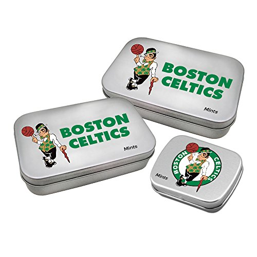 WOY7E NBA Boston Celtics Decorative Mint Tin with Sugar-Free Mini Peppermint Candies (3 Pack), Silver
