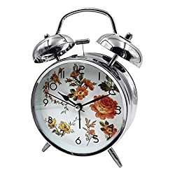 Loud Alarm Clock Hippih 4 Non-ticking Quartz Analog Vintage Desk Clock with Backlight and Battery Operated for Heavy Sleepers, Kids Bedroom(Chrysanthemum White)