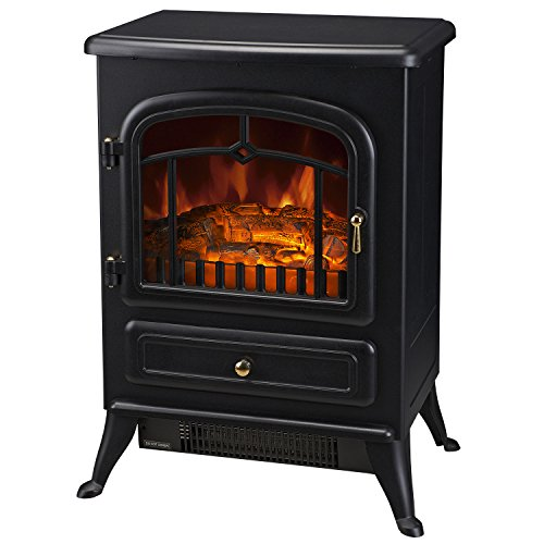 -[ HOMCOM Freestanding Electric Fire Place Indoor Heater Glass View Log Wood Burning Effect Flame P