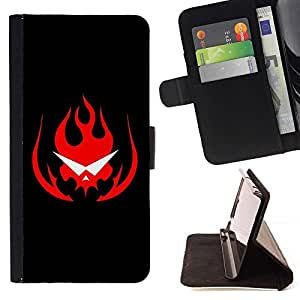 DEVIL CASE - FOR HTC One M9 - Flaming Skull Glasses - Style PU Leather Case Wallet Flip Stand Flap Closure Cover