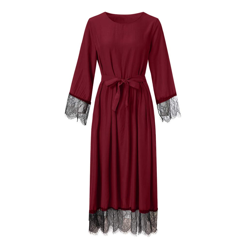 Vintage Solid Color Fake Two-Pieces Sleeve Long Dress Lace Robes kaifongfu Muslim Clothes for Women