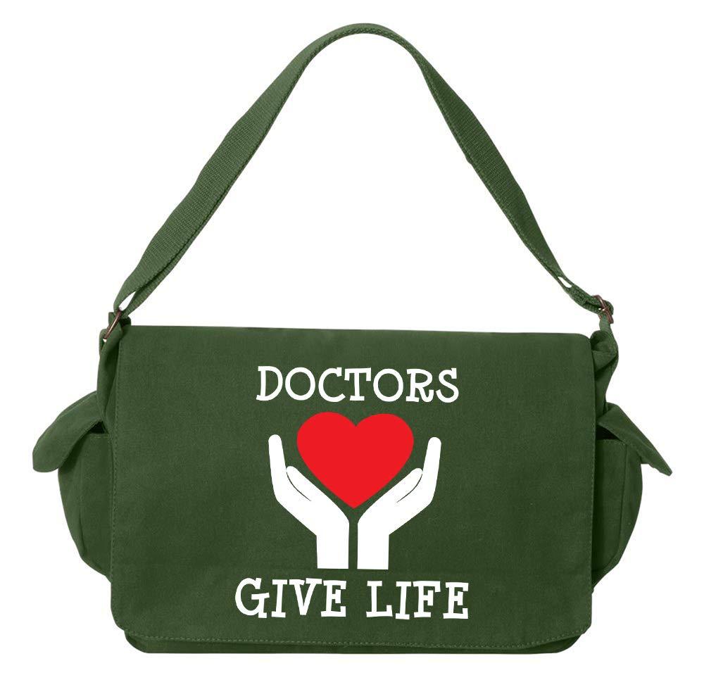 Tenacitee Doctors Give Life Flamingo Raw Edge Canvas Messenger Bag
