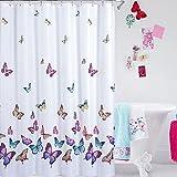 PowerLead Pscr C002 Butterflies Print Bath Curtain Waterproof Fabric Shower Curtain Multi Color ()