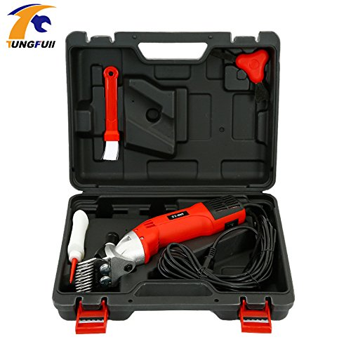 Tungfull 6Speed 110V/220-240V 500W 0-2400 rpm 76mm/94mm Electric Sheep Clipper Sheep Shearing Clipper Sheep Wool Shear Machine Red by Scissor
