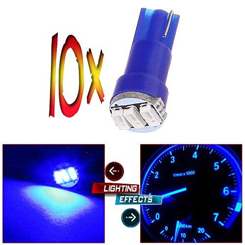 CCIYU 10x T5 Wedge 3-3014 SMD LED Dash Instrument Gauge Light Bulbs 37 70 73 74 Blue