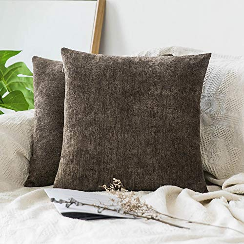 Chenille Square Throw - MIULEE Pack of 2 Decorative Throw Pillow Covers Square Soft Soild Chenille Velvet Cushion Cover Brown Pillow Case for Sofa Bedroom Car 18x18 Inch 45x45 cm