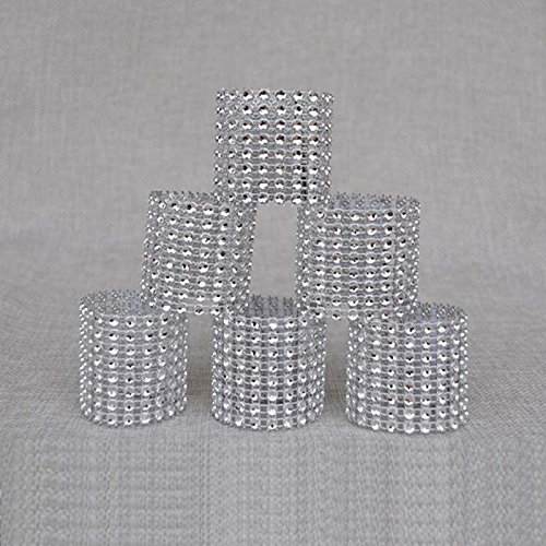 Handmade DIY Plastic Silver Rhinestone Wrap Napkin Rings For Hotel Home Decoration Wedding Supplies Pack of 100 pcs (Silver)
