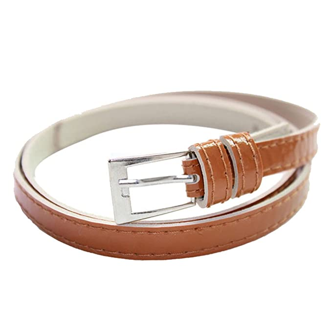 c71a885f2 Hotsellhome New Fashion 13 Colours Beautiful Women's Multicolor Small Candy  Color Thin Leather Belt Ms Belt (Brown): Amazon.co.uk: Clothing