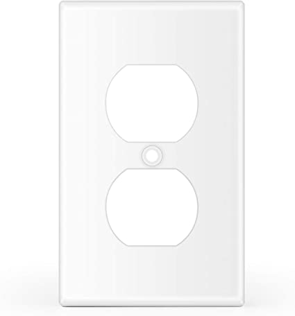 Tnp 1 Gang Duplex Receptacle Wall Plate 6 Pack Standard Size Dual Port Electrical Outlet Receptacle Plug Socket Faceplates Cover Replacement White