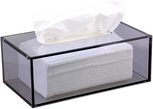 Yakri caja de pañuelos de acrílico facial, dispensador de pañuelos con tapa magnética TB002, Gris, W226xD126xH84mm: Amazon.es: Hogar