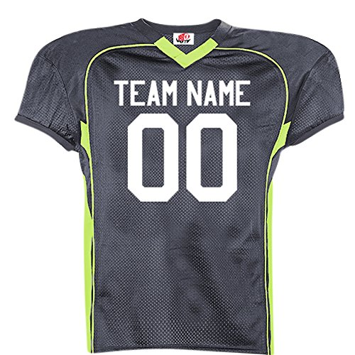 Button Full Pro Style Adult (No Pro Huddle Tricot Mesh Football Jersey in Adult Small in Graphite Fl Green)
