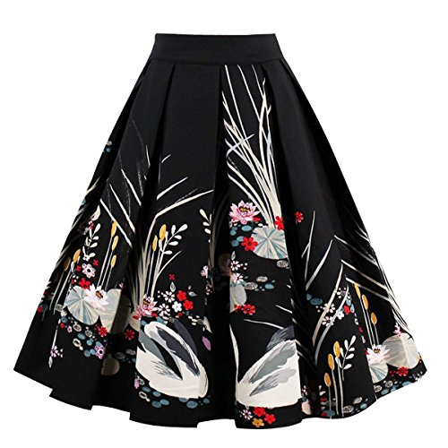 Dresstore Vintage Pleated Skirt Floral A-line Printed Midi Skirts with Pockets Black-White Swan-S